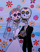 Bride And Groom Paintings - Special Day Dia De Los Muertos Wedding by Pristine Cartera Turkus