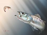Speckled Trout Digital Art Posters - Speck Snack Poster by Hayden Hammond