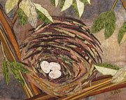 Art Quilt Tapestries Textiles Posters - Speckled Eggs Poster by Lynda K Boardman