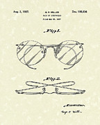 Pair Drawings Prints - Spectacles 1937 Patent Art Print by Prior Art Design