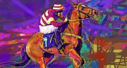 Jockey Mixed Media - Spectacular ride 2 by Mary Armstrong