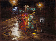Night Scene Pastel Posters - Speed Limit Poster by Jocelyn Paine