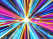 Radiating Light Digital Art - Speed of Light - Blue and Pink Version by Shazam Images