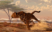 Cheetah Digital Art Metal Prints - Speeding Cheetah Metal Print by Daniel Eskridge