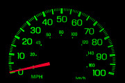 Traffic Control Photo Posters - Speedometer on black isolated Poster by Gunter Nezhoda