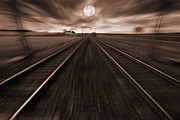 Train Tracks Framed Prints - Speedy Night Journey With Train Framed Print by Christian Lagereek