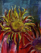 Blue Flowers Pastels - Spent Sunflower by David Patterson