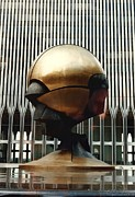 New York Pyrography Metal Prints - Sphere Metal Print by Bruce Lennon