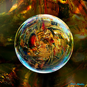 Marble Digital Art Prints - Sphere of Refractions Print by Robin Moline