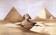 Pyramids Drawing Framed Prints - Sphinx Framed Print by Tilen Hrovatic