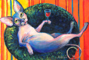 Funny Prints Drawings Prints - Sphynx cat relaxing Print by Svetlana Novikova
