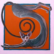 Sphynx Cat Paintings - Sphynx Spanked by Khairzul MG