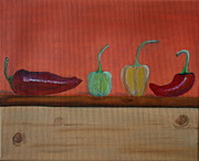 Chili Peppers Painting Originals - Spice It Up by Lorraine Adams
