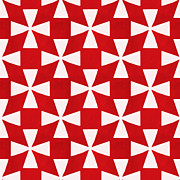 Spice Twirl- Red And White Pattern Print by Linda Woods