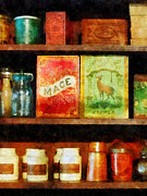 Spice Framed Prints - Spices on Shelf Framed Print by Susan Savad