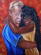Couples Paintings - Spicy - Interracial Lovers Series by Yesi Casanova