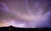 Storm Prints Photo Posters - Spider Lightning Above Haystack Boulder Colorado Poster by James Bo Insogna