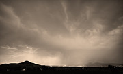 Storm Prints Photo Posters - Spider Lightning Above Haystack Boulder Colorado Sepia Poster by James Bo Insogna