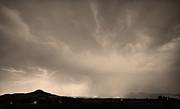 Spider Lightning Above Haystack Boulder Colorado Sepia Print by James BO  Insogna