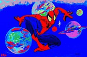 Cartoon Spider Framed Prints - Spider-Man Out of the Blue Framed Print by Saundra Myles