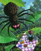 Creepy Digital Art Prints - Spider Picnic Print by Martin Davey
