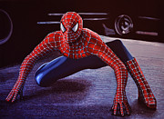 Character Painting Metal Prints - Spiderman 2 Metal Print by Paul  Meijering