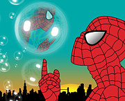 Cartoon Spider Prints - Spiderman 4 Print by Mark Ashkenazi