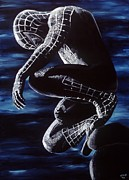 Spiderman Paintings - Spiderman In The Black by Leeann Stumpf
