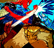 Spiderman Drawings - SPIDERMAN vs JAR HEAD  by Jazzboy