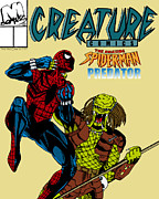 Cartoon Spider Prints - Spiderman vs Predator Print by Mista Perez Cartoon Art