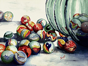 Sphere Painting Prints - Spilled Marbles Print by Sam Sidders