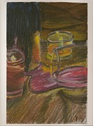 Wine-glass Pastels Framed Prints - Spilled Wine Framed Print by Krissy Haskell