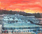 Boston Ma Painting Framed Prints - Spillway Framed Print by Cliff Wilson