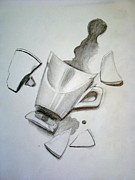 Coffee Mug Drawings Prints - Spilt Coffee Print by Caroline  Reid