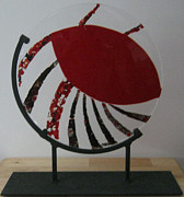 Black Stand Glass Art - Spin and Turn by Mary  Knapp
