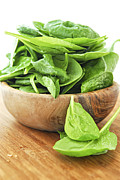 Salad Photo Posters - Spinach Poster by Elena Elisseeva