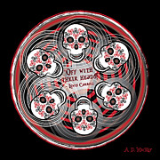 Celtic Spiral Posters - Spinning Celtic Skulls Poster by Angela Dawn MacKay