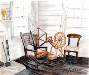 Rocking Chairs Originals - Spinning Wheel by Linda Ginn