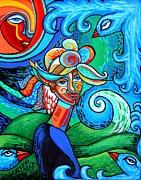 Spiral Bird Lady Print by Genevieve Esson