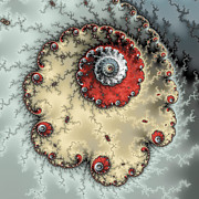 Fractals Photos - Spiral - fractal artwork in yellow gray and red by Matthias Hauser