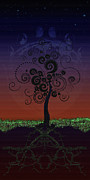 Tree Roots Digital Art Posters - Spiral Moon Poster by Anna Marie Koonce