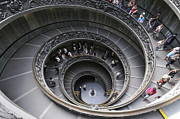 Vatican Photos - Spiral staircase by Giuseppe Momo at the Vatican Museum. Rome. Italy by Bernard Jaubert