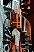Red Art Framed Prints - Spiral Stairs - color Framed Print by Darryl Dalton