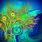 Spiral Tree With Blue Background Print by GuoJun Pan