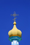 Russian Cross Photos - Spire of the Russian Orthodox Holy Trinity Cathedral at Karakol in Kyrgyzstan by Robert Preston