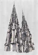 Spire Drawings Posters - Spires of St Patricks Cathedral New York City Poster by Gerald Blaikie