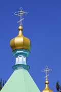 Russian Cross Photos - Spires of the Russian Orthodox Holy Trinity Cathedral at Karakol in Kyrgyzstan by Robert Preston