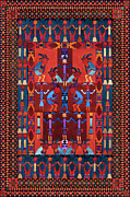 Native American Rug Prints - Spirit Center Print by Lawrence Chvotzkin