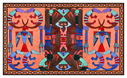 Indian Tapestries - Textiles Framed Prints - SPIRIT CROSSROADS Kokopelli I Framed Print by Lawrence Chvotzkin