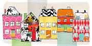 Stripes Mixed Media Prints - Spirit House Row Print by Linda Woods